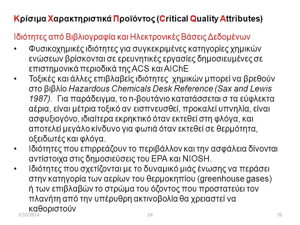 3/10/2014ΔΧ31 Κρίσιμα Χαρακτηριστικά Προϊόντος (Critical Quality Attributes) Ιδιότητες από Βιβλιογραφία και Ηλεκτρονικές Βάσεις Δεδομένων Φυσικοχημικές ιδιότητες για συγκεκριμένες κατηγορίες χημικών ενώσεων βρίσκονται σε ερευνητικές εργασίες δημοσιευμένες σε επιστημονικά περιοδικά της ΑCS και AIChE Τοξικές και άλλες επιβλαβείς ιδιότητες χημικών μπορεί να βρεθούν στο βιβλίο Hazardous Chemicals Desk Reference (Sax and Lewis 1987).