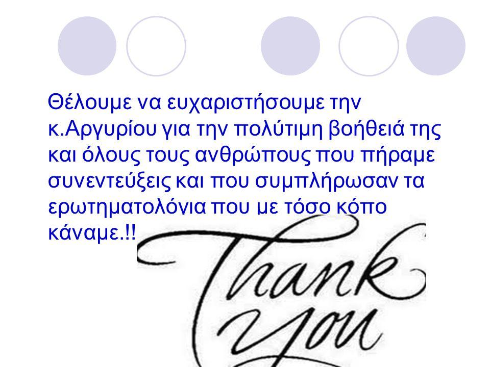 Θέλουμε να ευχαριστήσουμε την κ.Αργυρίου για την πολύτιμη βοήθειά της και όλους τους ανθρώπους που πήραμε συνεντεύξεις και που συμπλήρωσαν τα ερωτηματολόγια που με τόσο κόπο κάναμε.!!