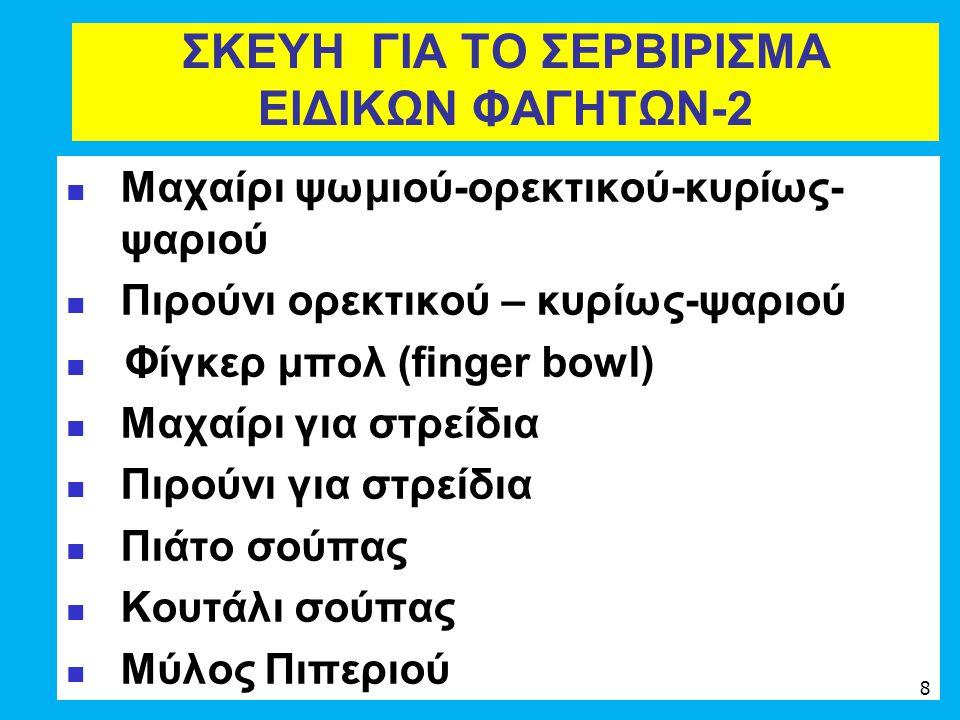 ΣΚΕΥΗ ΓΙΑ ΤΟ ΣΕΡΒΙΡΙΣΜΑ ΕΙΔΙΚΩΝ ΦΑΓΗΤΩΝ-2 Μαχαίρι ψωμιού-ορεκτικού-κυρίως- ψαριού Πιρούνι ορεκτικού – κυρίως-ψαριού Φίγκερ μπολ (finger bowl) Μαχαίρι