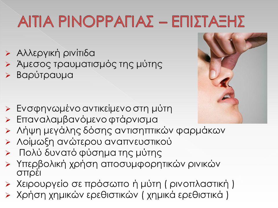  Αλλεργική ρινίτιδα  Άμεσος τραυματισμός της μύτης  Βαρύτραυμα  Ενσφηνωμένο αντικείμενο στη μύτη  Επαναλαμβανόμενο φτάρνισμα  Λήψη μεγάλης δόσης αντισηπτικών φαρμάκων  Λοίμωξη ανώτερου αναπνευστικού  Πολύ δυνατό φύσημα της μύτης  Υπερβολική χρήση αποσυμφορητικών ρινικών σπρέι  Χειρουργείο σε πρόσωπο ή μύτη ( ρινοπλαστική )  Χρήση χημικών ερεθιστικών ( χημικά ερεθιστικά )
