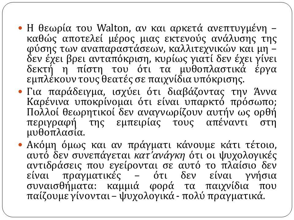 Η θεωρία του Walton, αν και αρκετά ανεπτυγμένη – καθώς αποτελεί μέρος μιας εκτενούς ανάλυσης της φύσης των αναπαραστάσεων, καλλιτεχνικών και μη – δεν έχει βρει ανταπόκριση, κυρίως γιατί δεν έχει γίνει δεκτή η πίστη του ότι τα μυθοπλαστικά έργα εμπλέκουν τους θεατές σε παιχνίδια υπόκρισης.