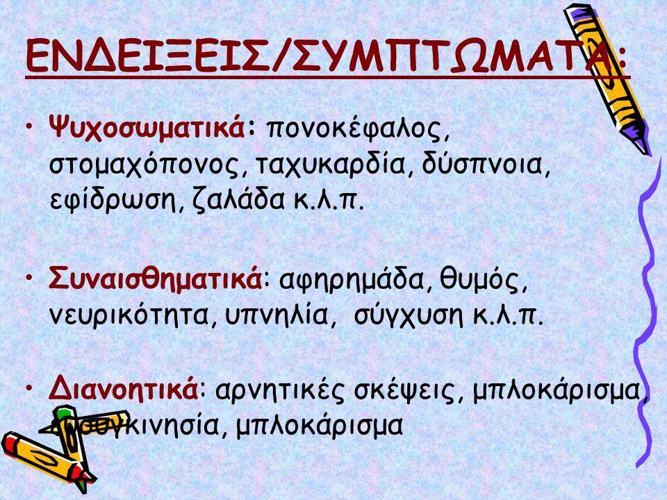 ΕΝΔΕΙΞΕΙΣ/ΣΥΜΠΤΩΜΑΤΑ: Ψυχοσωματικά: πονοκέφαλος, στομαχόπονος, ταχυκαρδία, δύσπνοια, εφίδρωση, ζαλάδα κ.λ.π. Συναισθηματικά: αφηρημάδα, θυμός, νευρικό