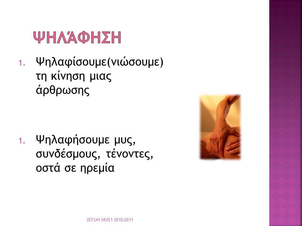  Επαγγελματισμός  Κατάλληλη ενδυμασία  Όχι μακριά νύχια  Άνεση ασθενή  Άνεση φυσικοθεραπευτή  Καλές δεξιότητες ΙST/UH ΝΜΣ1 2010-2011