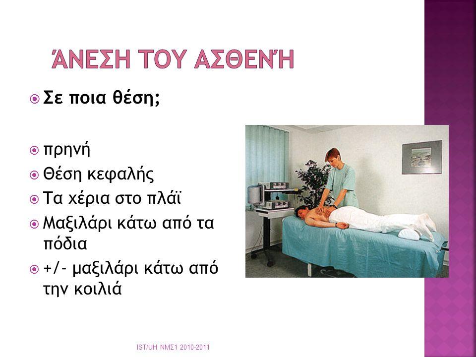  Καταλαβαίνεται τον πόνο με την πληροφόρηση που δέχεσθε από τον ασθενή  Οπότε απαιτείται συνεχής πληροφόρηση ΙST/UH ΝΜΣ1 2010-2011