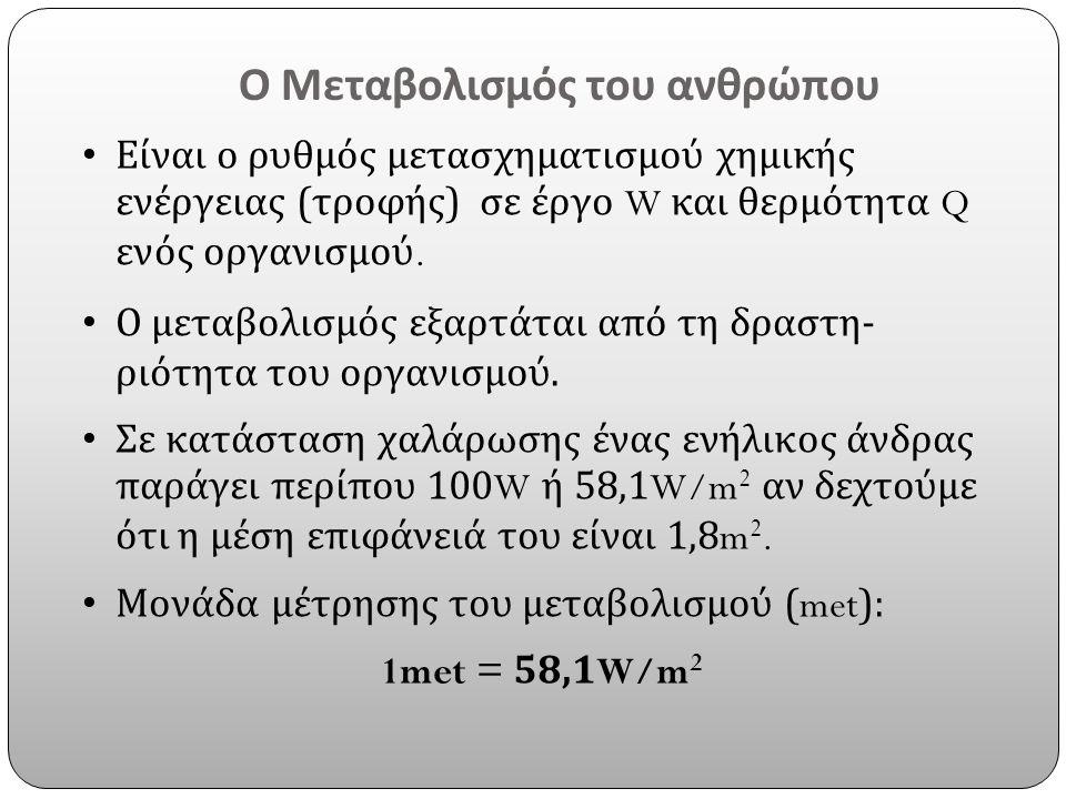 Ο Μεταβολισμός του ανθρώπου Είναι ο ρυθμός μετασχηματισμού χημικής ενέργειας ( τροφής ) σε έργο W και θερμότητα Q ενός οργανισμού. Ο μεταβολισμός εξαρ