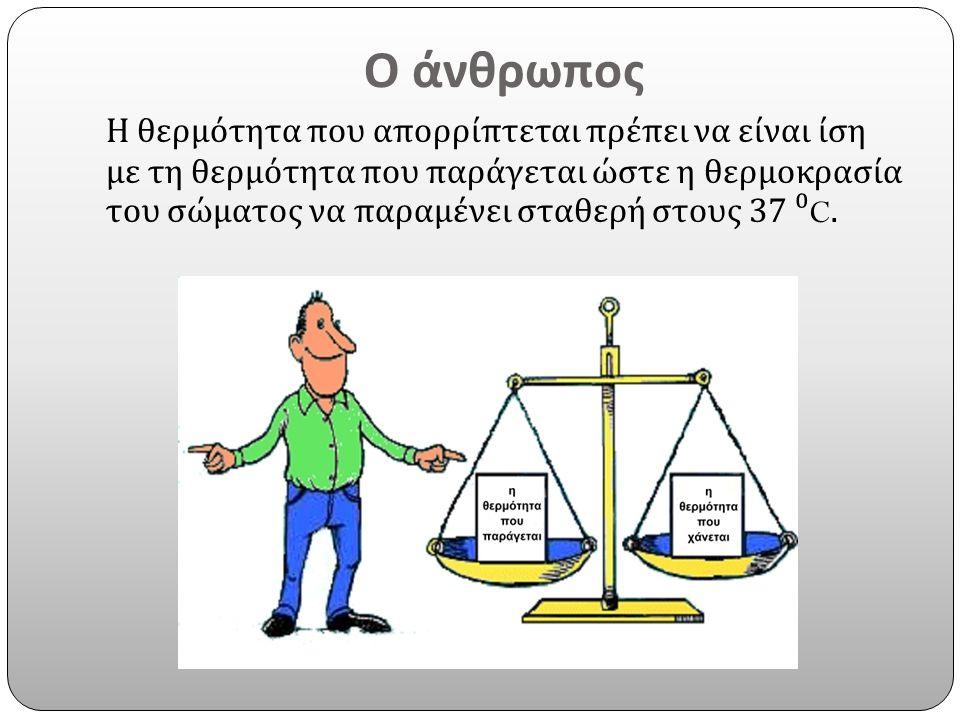 Ο άνθρωπος Η θερμότητα που απορρίπτεται πρέπει να είναι ίση με τη θερμότητα που παράγεται ώστε η θερμοκρασία του σώματος να παραμένει σταθερή στους 37