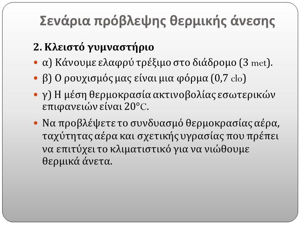 Σενάρια πρόβλεψης θερμικής άνεσης 2. Κλειστό γυμναστήριο α ) Κάνουμε ελαφρύ τρέξιμο στο διάδρομο (3 met). β ) Ο ρουχισμός μας είναι μια φόρμα (0,7 clo