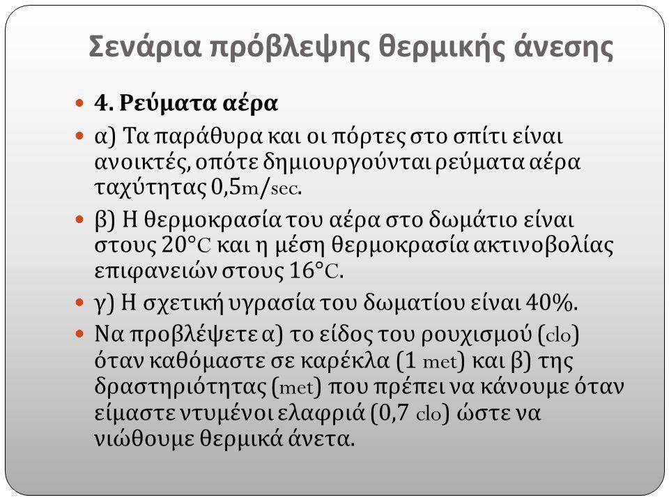 Σενάρια πρόβλεψης θερμικής άνεσης 4. Ρεύματα αέρα α ) Τα παράθυρα και οι πόρτες στο σπίτι είναι ανοικτές, οπότε δημιουργούνται ρεύματα αέρα ταχύτητας