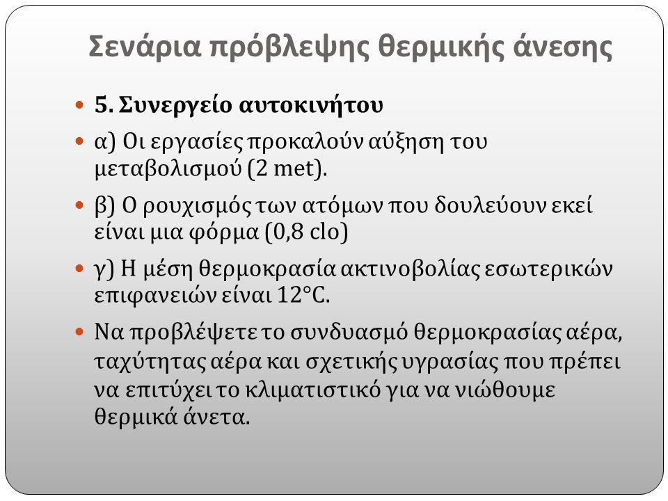 Σενάρια πρόβλεψης θερμικής άνεσης 5. Συνεργείο αυτοκινήτου α ) Οι εργασίες προκαλούν αύξηση του μεταβολισμού (2 met). β ) Ο ρουχισμός των ατόμων που δ