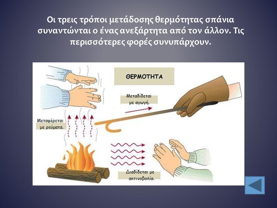 Οι τρεις τρόποι μετάδοσης θερμότητας σπάνια συναντώνται ο ένας ανεξάρτητα από τον άλλον. Τις περισσότερες φορές συνυπάρχουν.