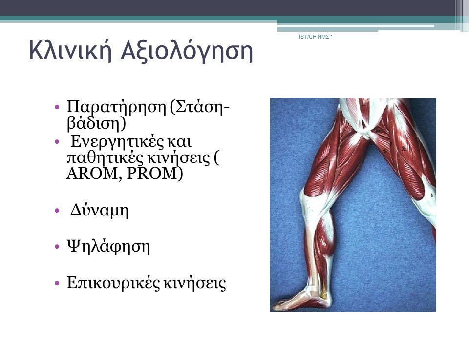 Κλινική Αξιολόγηση Παρατήρηση (Στάση- βάδιση) Eνεργητικές και παθητικές κινήσεις ( AROM, PROM) Δύναμη Ψηλάφηση Επικουρικές κινήσεις IST/UH ΝΜΣ 1