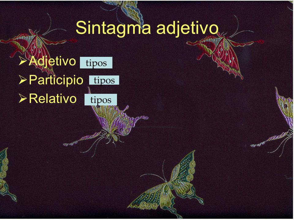 Sintagma adjetivo  Adjetivo  Participio  Relativo tipos
