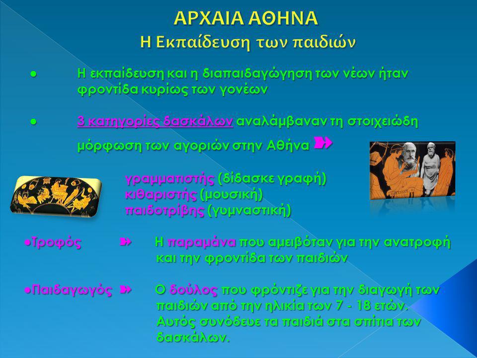 ● Η εκπαίδευση και η διαπαιδαγώγηση των νέων ήταν φροντίδα κυρίως των γονέων ●3 κατηγορίες δασκάλων αναλάμβαναν τη στοιχειώδη μόρφωση των αγοριών στην Αθήνα ➽ γραμματιστής (δίδασκε γραφή) κιθαριστής (μουσική) παιδοτρίβης (γυμναστική) ●Τροφός ➽ Η παραμάνα που αμειβόταν για την ανατροφή και την φροντίδα των παιδιών και την φροντίδα των παιδιών ●Παιδαγωγός ➽ Ο δούλος που φρόντιζε για την διαγωγή των παιδιών από την ηλικία των 7 - 18 ετών.