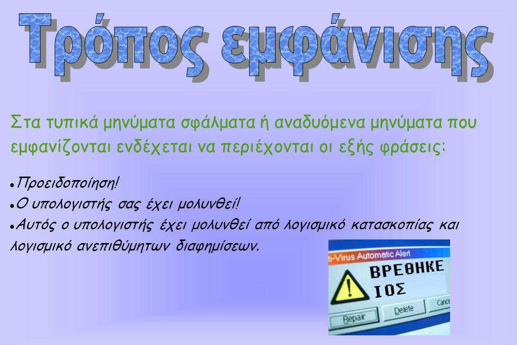 Στα τυπικά μηνύματα σφάλματα ή αναδυόμενα μηνύματα που εμφανίζονται ενδέχεται να περιέχονται οι εξής φράσεις: Προειδοποίηση.