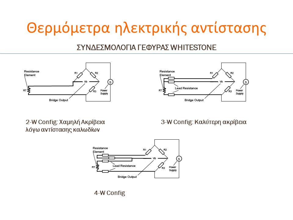 Θερμόμετρα ηλεκτρικής αντίστασης 2-W Config: Χαμηλή Ακρίβεια λόγω αντίστασης καλωδίων 3-W Config: Καλύτερη ακρίβεια 4-W Config ΣΥΝΔΕΣΜΟΛΟΓΙΑ ΓΕΦΥΡΑΣ W