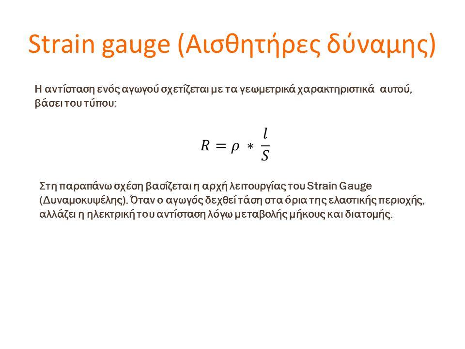 Strain gauge (Αισθητήρες δύναμης) Η αντίσταση ενός αγωγού σχετίζεται με τα γεωμετρικά χαρακτηριστικά αυτού, βάσει του τύπου: Στη παραπάνω σχέση βασίζεται η αρχή λειτουργίας του Strain Gauge (Δυναμοκυψέλης).