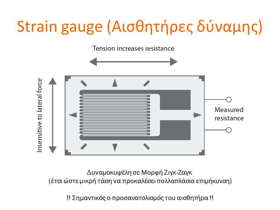 Strain gauge (Αισθητήρες δύναμης) Δυναμοκυψέλη σε Μορφή Ζιγκ-Ζαγκ (έτσι ώστε μικρή τάση να προκαλέσει πολλαπλάσια επιμήκυνση) !! Σημαντικός ο προσανατ