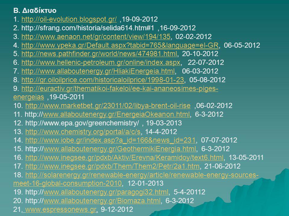 Β. Διαδίκτυο 1. http://oil-evolution.blogspot.gr/,19-09-2012http://oil-evolution.blogspot.gr/ 2. http://sfrang.com/historia/selida614.htm#1,16-09-2012