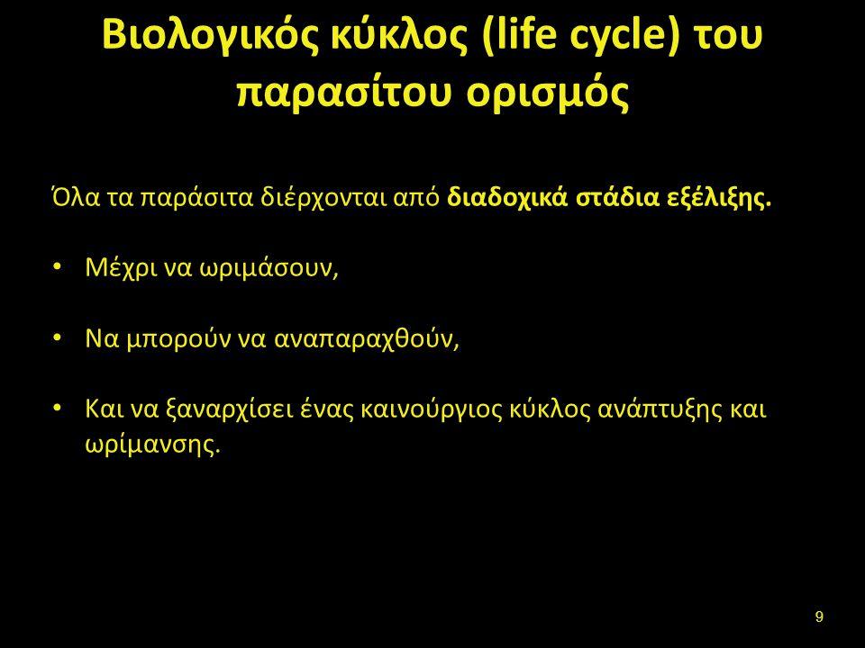 Βιολογικός κύκλος (life cycle) του παρασίτου ορισμός Όλα τα παράσιτα διέρχονται από διαδοχικά στάδια εξέλιξης.
