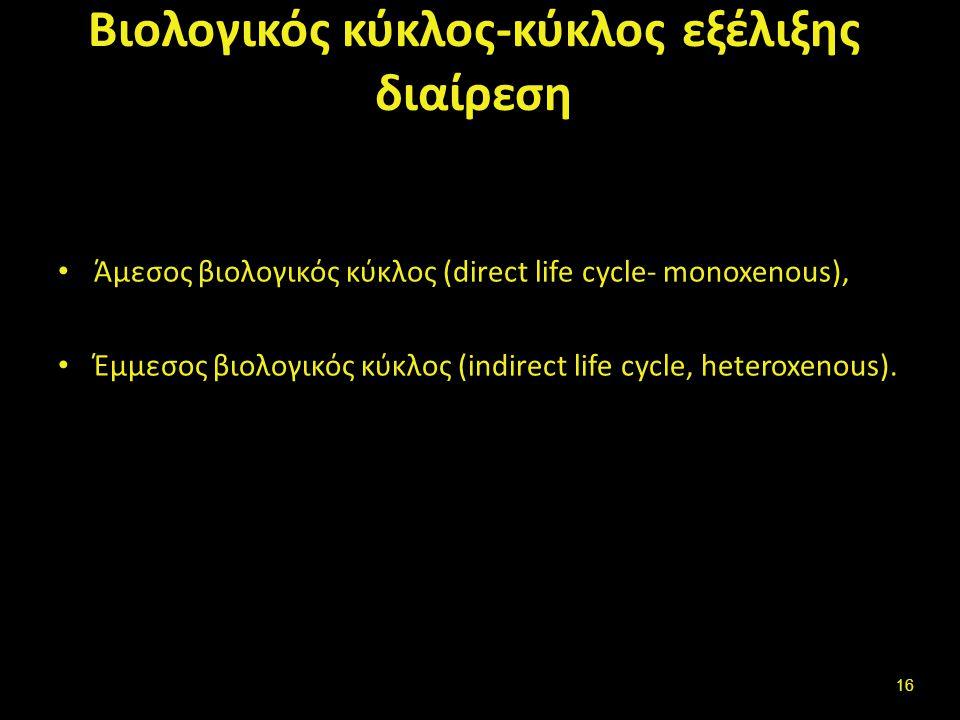Βιολογικός κύκλος-κύκλος εξέλιξης διαίρεση Άμεσος βιολογικός κύκλος (direct life cycle- monoxenous), Έμμεσος βιολογικός κύκλος (indirect life cycle, heteroxenous).