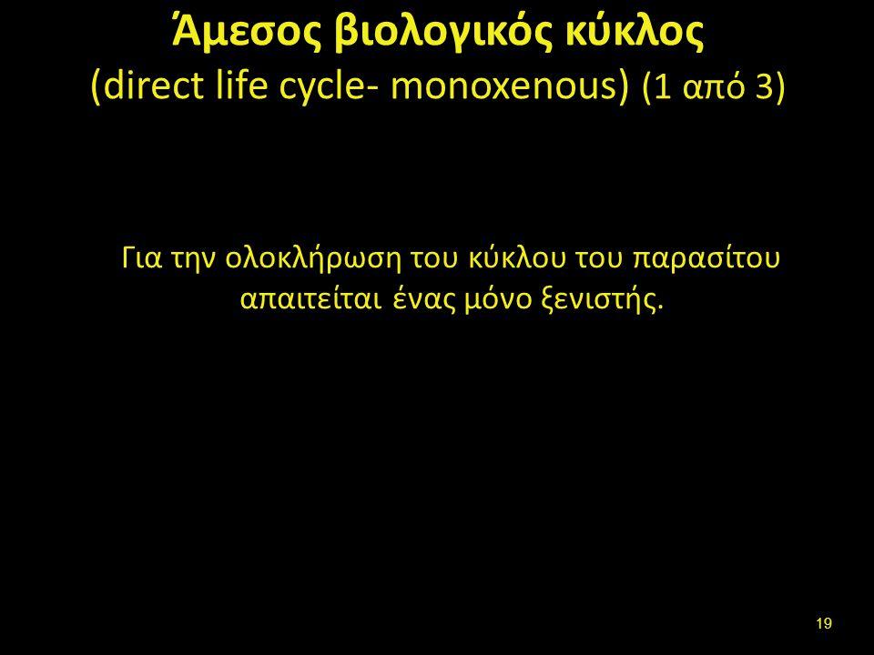 Άμεσος βιολογικός κύκλος (direct life cycle- monoxenous) (1 από 3) Για την ολοκλήρωση του κύκλου του παρασίτου απαιτείται ένας μόνο ξενιστής.