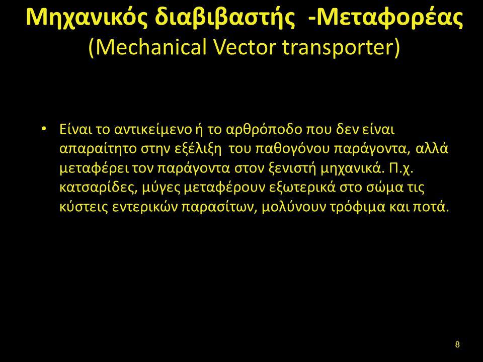 Μηχανικός διαβιβαστής -Μεταφορέας (Mechanical Vector transporter) Είναι το αντικείμενο ή το αρθρόποδο που δεν είναι απαραίτητο στην εξέλιξη του παθογόνου παράγοντα, αλλά μεταφέρει τον παράγοντα στον ξενιστή μηχανικά.