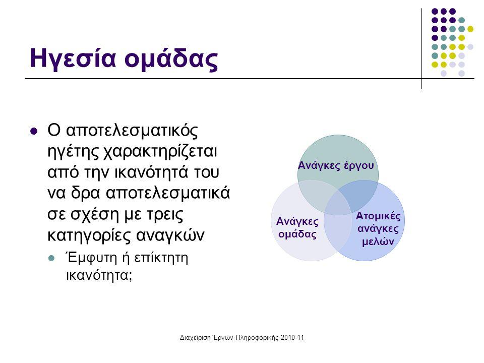 Διαχείριση Έργων Πληροφορικής 2010-11 Ηγεσία ομάδας Ο αποτελεσματικός ηγέτης χαρακτηρίζεται από την ικανότητά του να δρα αποτελεσματικά σε σχέση με τρ