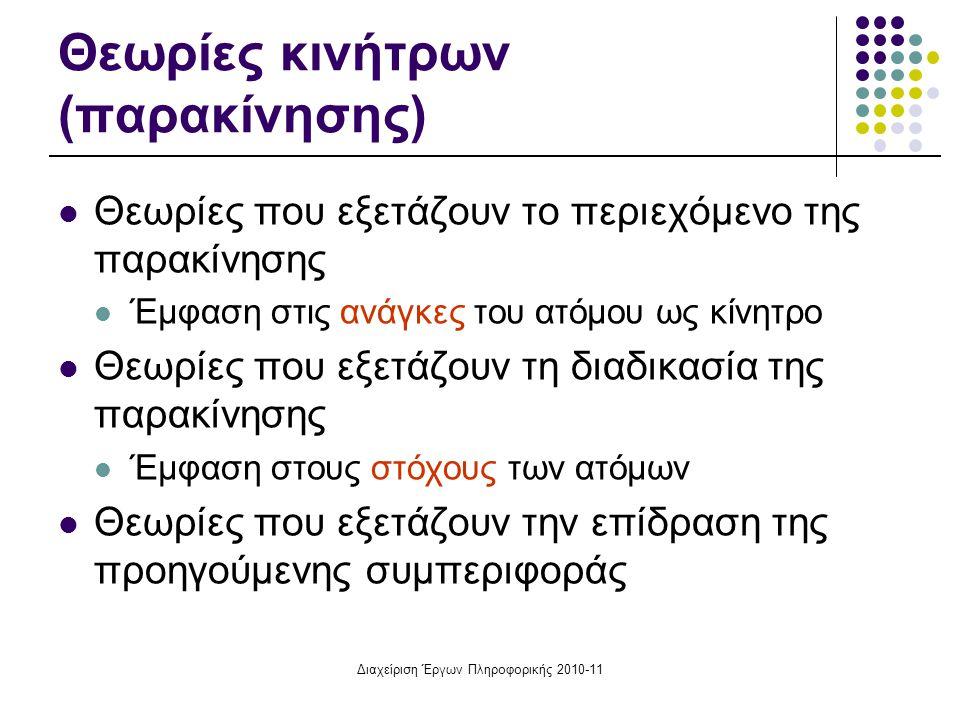 Διαχείριση Έργων Πληροφορικής 2010-11 Θεωρίες κινήτρων (παρακίνησης) Θεωρίες που εξετάζουν το περιεχόμενο της παρακίνησης Έμφαση στις ανάγκες του ατόμ