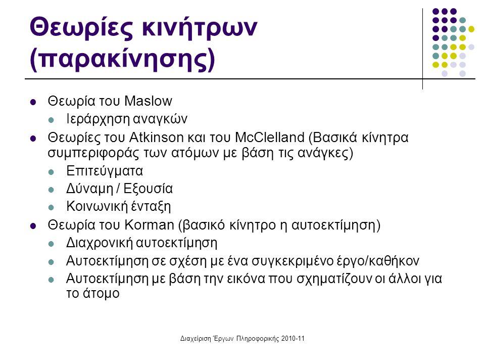 Διαχείριση Έργων Πληροφορικής 2010-11 Θεωρίες κινήτρων (παρακίνησης) Θεωρία του Maslow Ιεράρχηση αναγκών Θεωρίες του Atkinson και του McClelland (Βασι