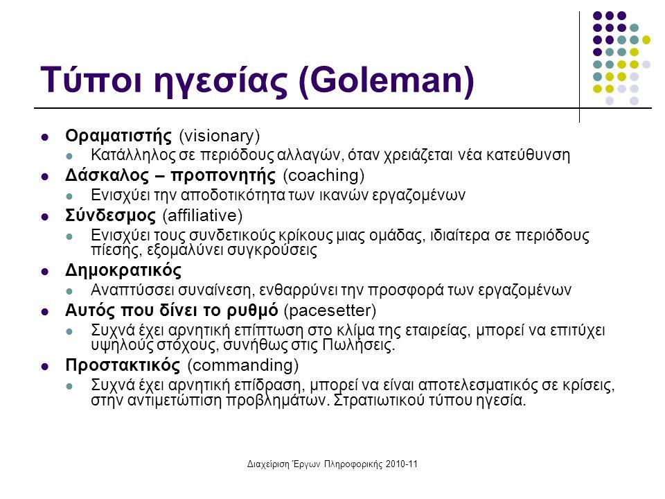 Διαχείριση Έργων Πληροφορικής 2010-11 Τύποι ηγεσίας (Goleman) Οραματιστής (visionary) Κατάλληλος σε περιόδους αλλαγών, όταν χρειάζεται νέα κατεύθυνση