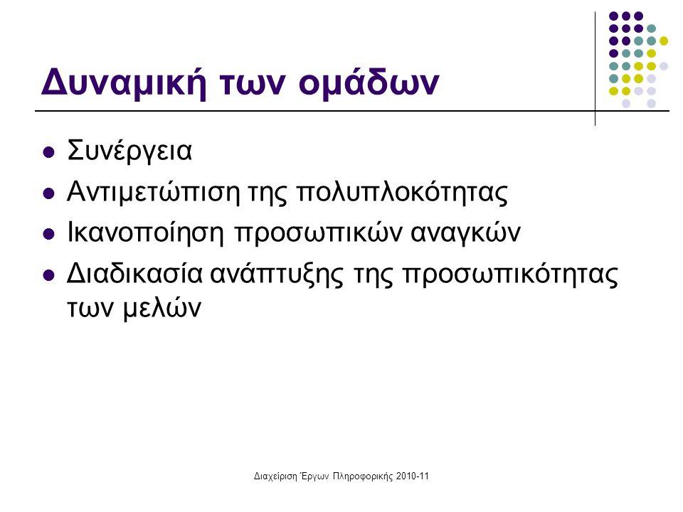 Διαχείριση Έργων Πληροφορικής 2010-11 Δυναμική των ομάδων Συνέργεια Αντιμετώπιση της πολυπλοκότητας Ικανοποίηση προσωπικών αναγκών Διαδικασία ανάπτυξη
