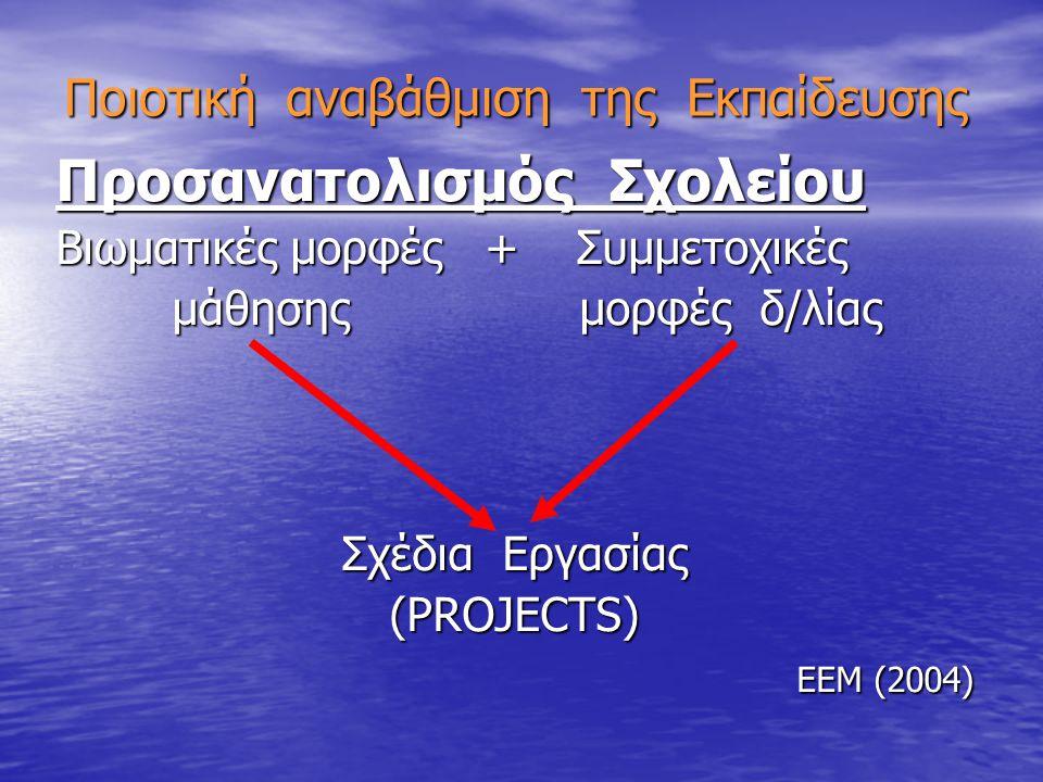 Ποιοτική αναβάθμιση της Εκπαίδευσης Προσανατολισμός Σχολείου Βιωματικές μορφές + Συμμετοχικές μάθησης μορφές δ/λίας μάθησης μορφές δ/λίας Σχέδια Εργασίας (PROJECTS) ΕΕΜ (2004)