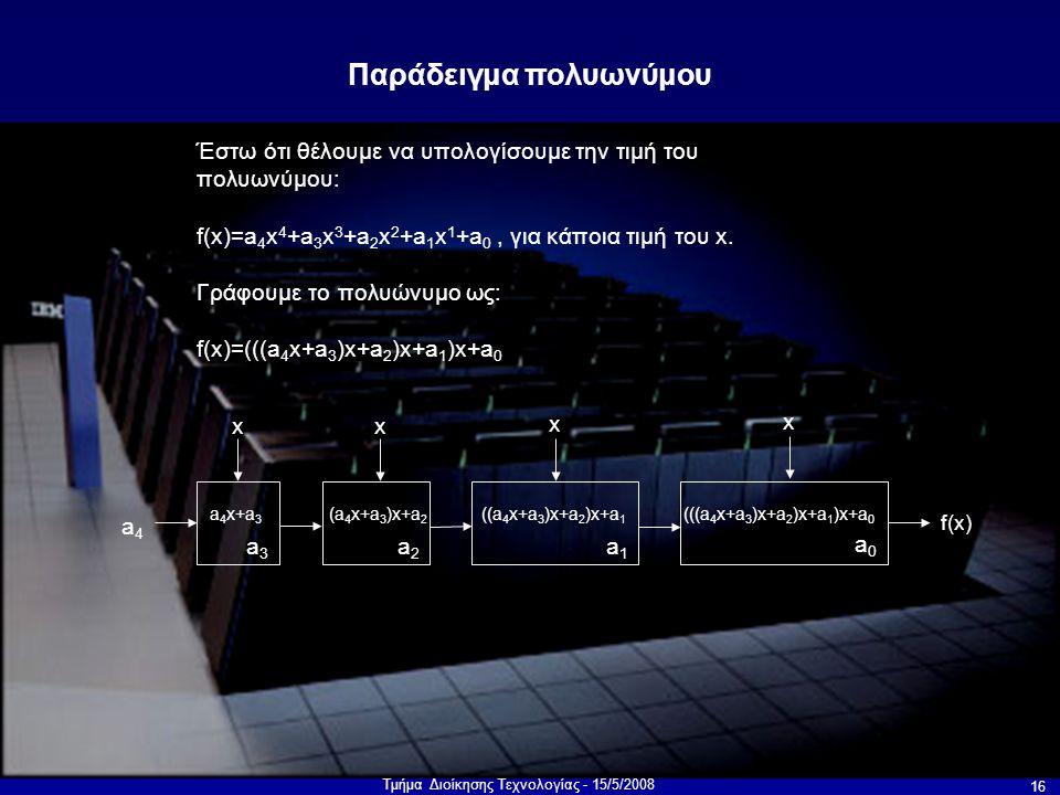 Τμήμα Διοίκησης Τεχνολογίας - 15/5/2008 16 Έστω ότι θέλουμε να υπολογίσουμε την τιμή του πολυωνύμου: f(x)=a 4 x 4 +a 3 x 3 +a 2 x 2 +a 1 x 1 +a 0, για κάποια τιμή του x.