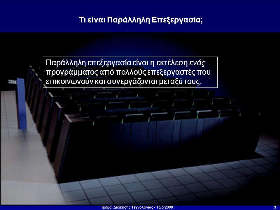 Τμήμα Διοίκησης Τεχνολογίας - 15/5/2008 14 Αρχιτεκτονικές: τοπολογίες μνήμης Crossbar=μεγάλο κόστος Κοινός δίαυλος=μποτιλιάρισμα