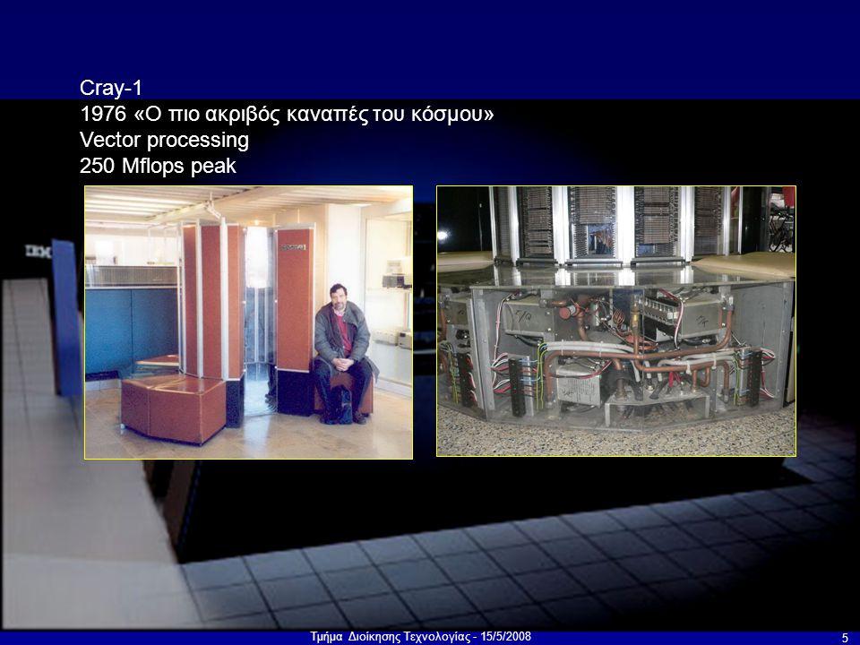 Τμήμα Διοίκησης Τεχνολογίας - 15/5/2008 5 Cray-1 1976 «Ο πιο ακριβός καναπές του κόσμου» Vector processing 250 Mflops peak
