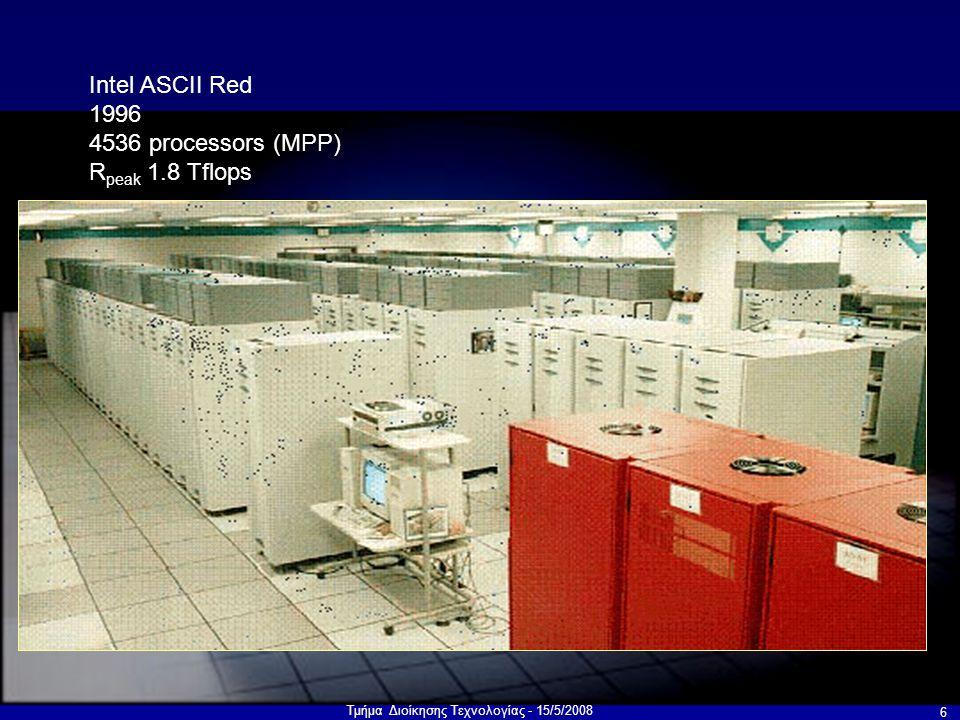 Τμήμα Διοίκησης Τεχνολογίας - 15/5/2008 6 Intel ASCII Red 1996 4536 processors (MPP) R peak 1.8 Tflops