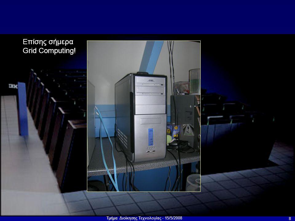 Τμήμα Διοίκησης Τεχνολογίας - 15/5/2008 19 Προγραμματισμός Επικοινωνία και συγχρονισμός Προσδιορισμός ανεξάρτητων διεργασιών («σπάσιμο» του προβλήματος) Αποφυγή αδιεξόδων και μποτιλιαρισμάτων Στόχοι: Μεγάλη Απόδοση Ευρεία εφαρμογή Εύκολος προγραμματισμός Επεκτασιμότητα Χαμηλό κόστος