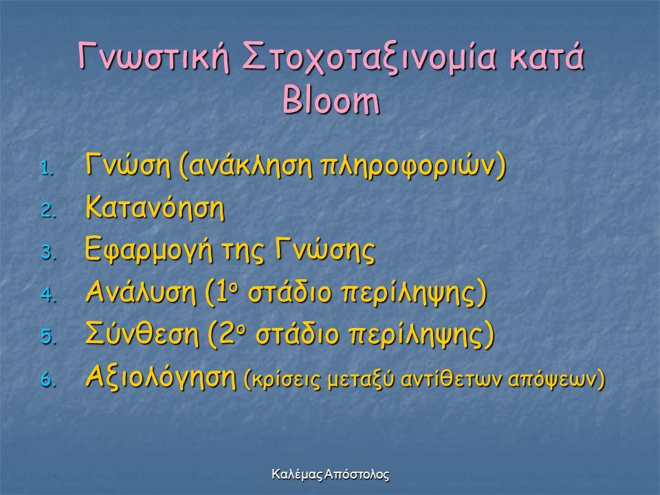Καλέμας Απόστολος Γνωστική Στοχοταξινομία κατά Bloom 1. Γνώση (ανάκληση πληροφοριών) 2. Κατανόηση 3. Εφαρμογή της Γνώσης 4. Ανάλυση (1 ο στάδιο περίλη