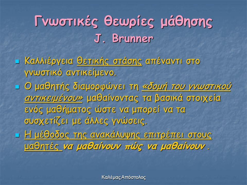Καλέμας Απόστολος Γνωστικές θεωρίες μάθησης J. Brunner Καλλιέργεια θετικής στάσης απέναντι στο γνωστικό αντικείμενο. Καλλιέργεια θετικής στάσης απέναν