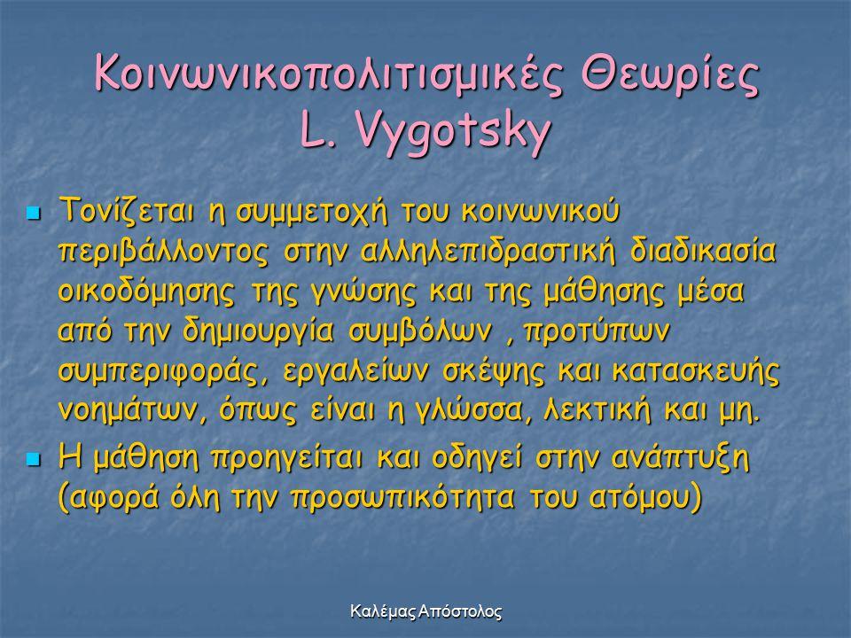 Καλέμας Απόστολος Κοινωνικοπολιτισμικές Θεωρίες L. Vygotsky Τονίζεται η συμμετοχή του κοινωνικού περιβάλλοντος στην αλληλεπιδραστική διαδικασία οικοδό