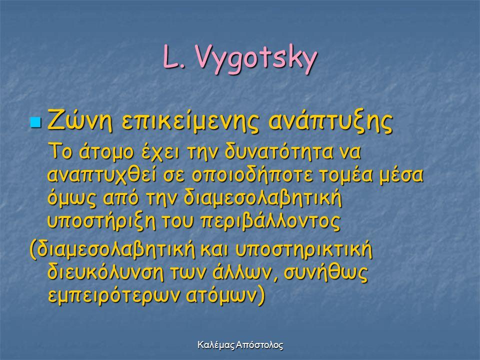 Καλέμας Απόστολος L. Vygotsky Ζώνη επικείμενης ανάπτυξης Ζώνη επικείμενης ανάπτυξης Το άτομο έχει την δυνατότητα να αναπτυχθεί σε οποιοδήποτε τομέα μέ