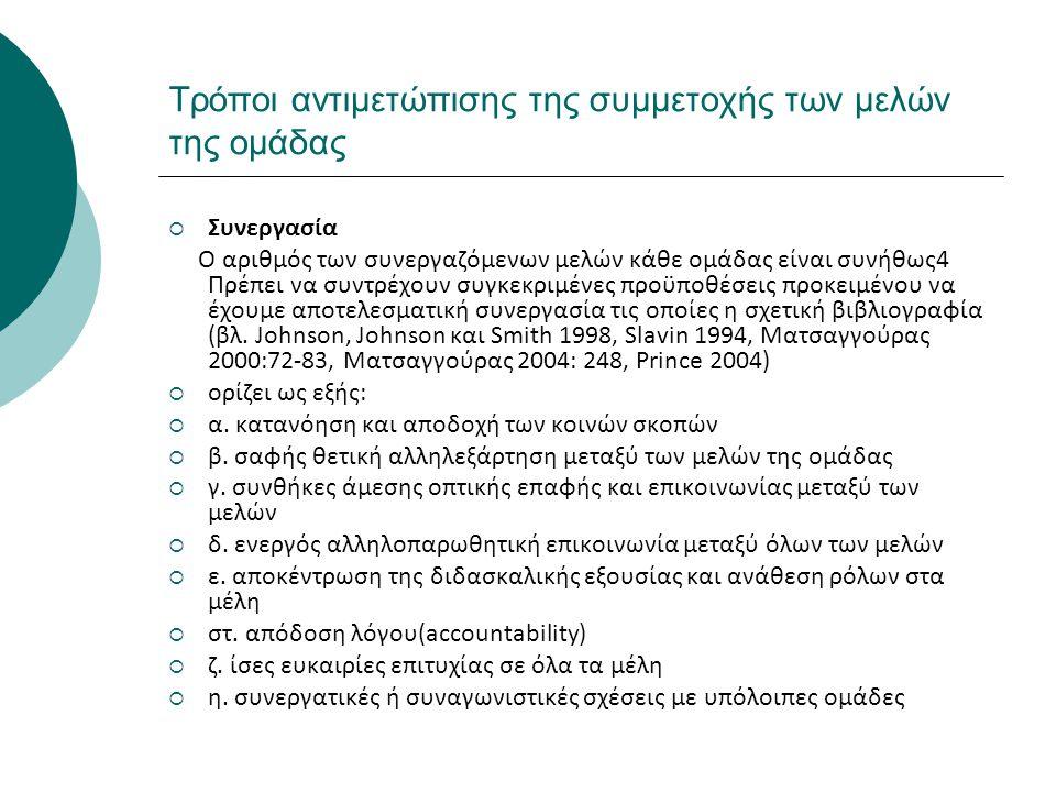 Τρόποι αντιμετώπισης της συμμετοχής των μελών της ομάδας  Συνεργασία Ο αριθμός των συνεργαζόμενων μελών κάθε ομάδας είναι συνήθως4 Πρέπει να συντρέχο