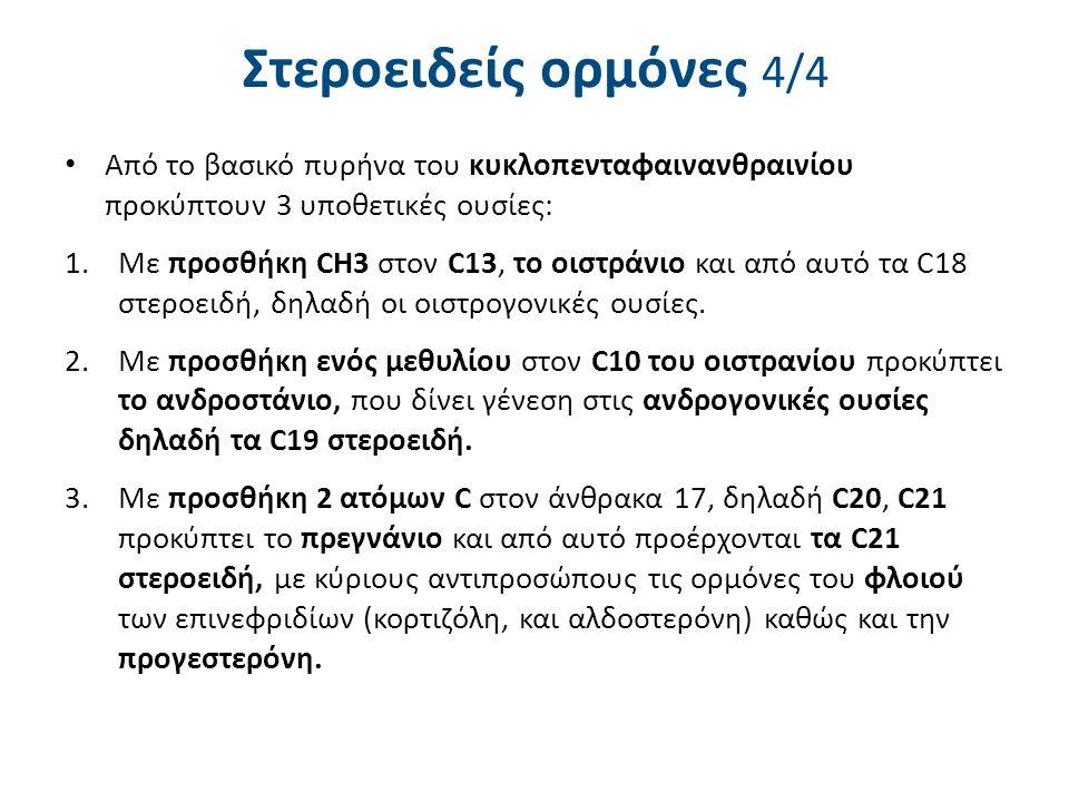 Στεροειδείς ορμόνες 4/4 Από το βασικό πυρήνα του κυκλοπενταφαινανθραινίου προκύπτουν 3 υποθετικές ουσίες: 1.Με προσθήκη CH3 στον C13, το οιστράνιο και