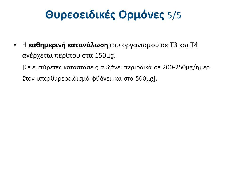 Θυρεοειδικές Ορμόνες 5/5 Η καθημερινή κατανάλωση του οργανισμού σε Τ3 και Τ4 ανέρχεται περίπου στα 150μg. [Σε εμπύρετες καταστάσεις αυξάνει περιοδικά