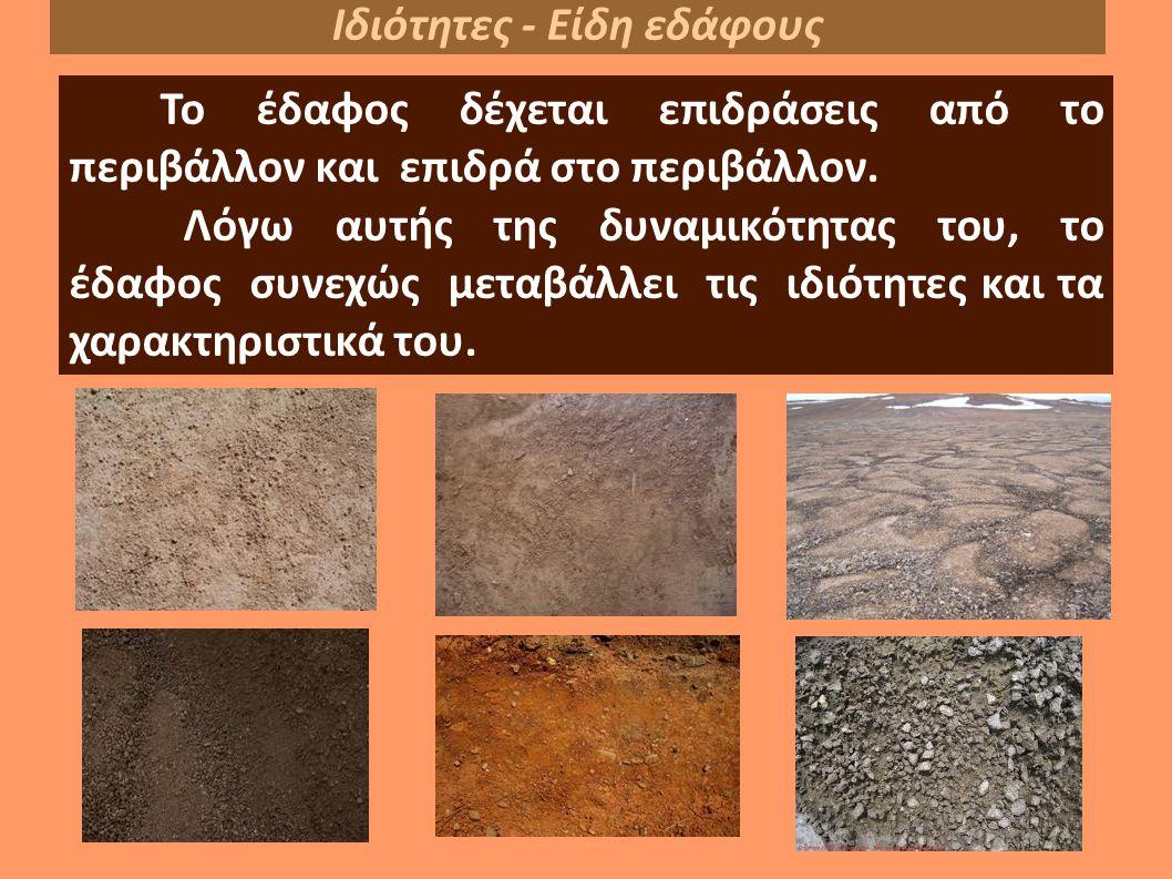 Το έδαφος δέχεται επιδράσεις από το περιβάλλον και επιδρά στο περιβάλλον.