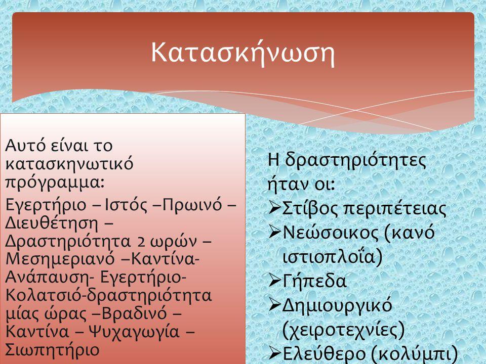 Αυτό είναι το κατασκηνωτικό πρόγραμμα: Εγερτήριο – Ιστός –Πρωινό – Διευθέτηση – Δραστηριότητα 2 ωρών – Μεσημεριανό –Καντίνα- Ανάπαυση- Εγερτήριο- Κολατσιό-δραστηριότητα μίας ώρας –Βραδινό – Καντίνα – Ψυχαγωγία – Σιωπητήριο Κατασκήνωση Η δραστηριότητες ήταν οι:  Στίβος περιπέτειας  Νεώσοικος (κανό ιστιοπλοΐα)  Γήπεδα  Δημιουργικό (χειροτεχνίες)  Ελεύθερο (κολύμπι)