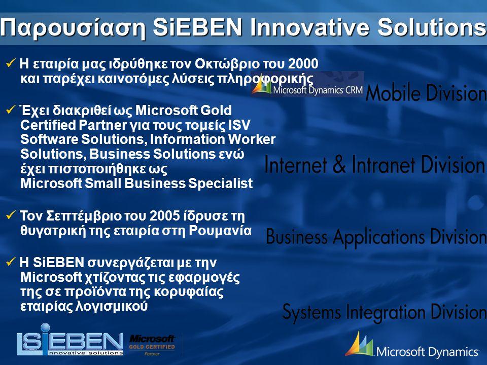 Παρουσίαση SiEBEN Innovative Solutions Η εταιρία μας ιδρύθηκε τον Οκτώβριο του 2000 και παρέχει καινοτόμες λύσεις πληροφορικής Έχει διακριθεί ως Micro