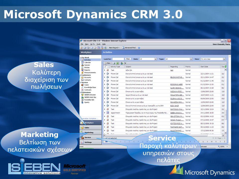 Microsoft Dynamics CRM 3.0 Sales Καλύτερη διαχείριση των πωλήσεων Service Παροχή καλύτερων υπηρεσιών στους πελάτες Marketing Βελτίωση των πελατειακών σχέσεων