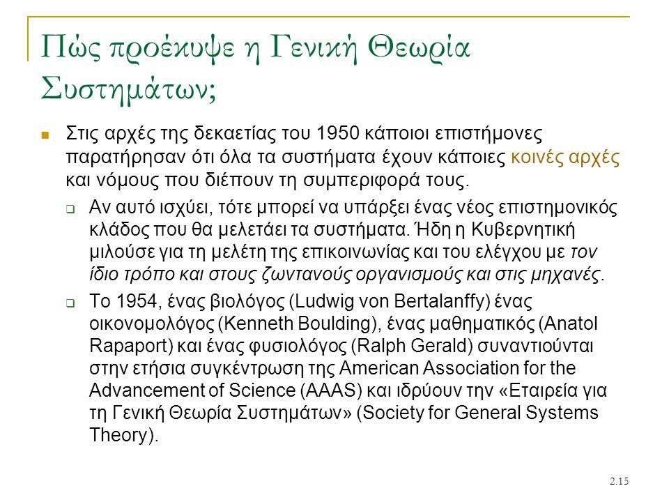 2.15 Πώς προέκυψε η Γενική Θεωρία Συστημάτων; Στις αρχές της δεκαετίας του 1950 κάποιοι επιστήμονες παρατήρησαν ότι όλα τα συστήματα έχουν κάποιες κοι