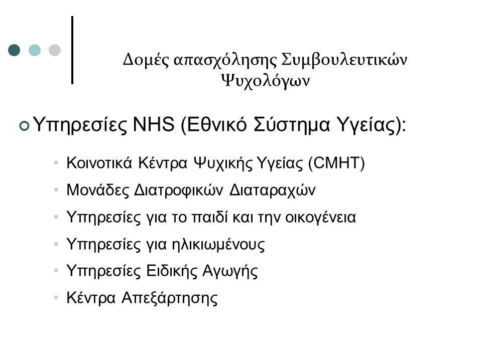 Δομές απασχόλησης Συμβουλευτικών Ψυχολόγων Υπηρεσίες NHS (Εθνικό Σύστημα Υγείας): Κοινοτικά Κέντρα Ψυχικής Υγείας (CMHT) Μονάδες Διατροφικών Διαταραχών Υπηρεσίες για το παιδί και την οικογένεια Υπηρεσίες για ηλικιωμένους Υπηρεσίες Ειδικής Αγωγής Κέντρα Απεξάρτησης